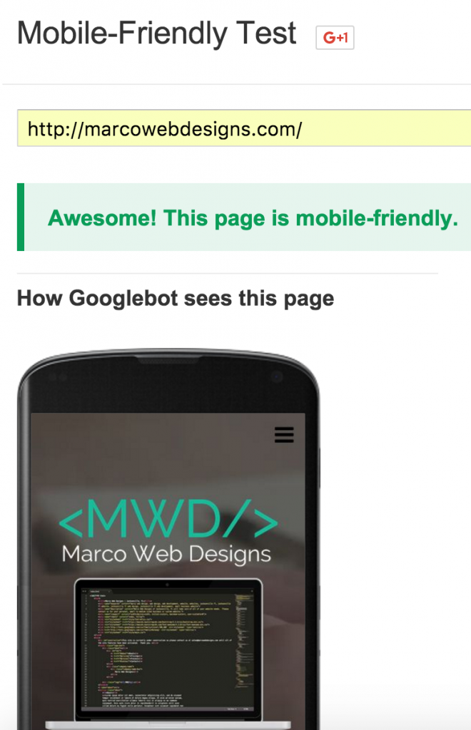 Marco Web Designs Google Mobile Friendly Test